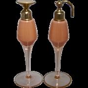 1920s Pair DeVilbiss USA Art Deco Peach Glass Perfumes