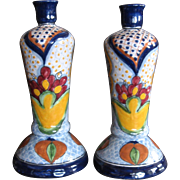 Pair Tall Vintage La Corona Talavera Candlesticks or Lamp Bases