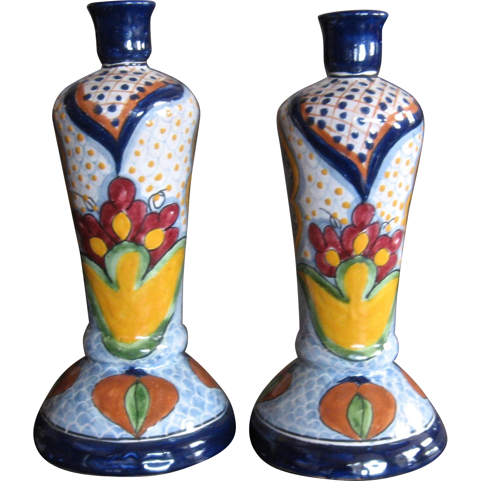 Pair Tall Vintage La Corona Talavera Candlesticks or Lamp Bases ...