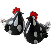 Pair Murano Blown Glass Chickens Hens Black White & Red