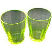 Pair 1920s Vaseline Glass Shot Glasses Tumblers