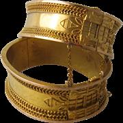 Pair Ca 1880 Victorian Etruscan Revival 14-15K Cuff Bracelets