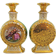 Pair of Porcelain Perfumes Hand Painted Enamels & 24k Gilt