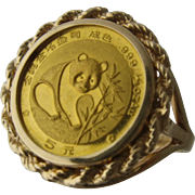 24K Chinese 5 Yuan Panda Coin 14K Ring w/ Rope Bezel Sz 6 1/4