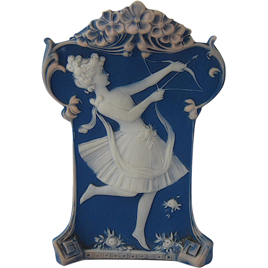 Pate sur Pate Porcelain Vase Girl w/ Bow Early 1900s