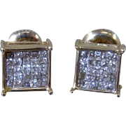 Square 14K Mosaic Inlay Pavé  Diamonds Stud Earrings