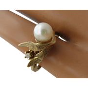 14K Pearl Diamond Textured Leaves Ring Size 5
