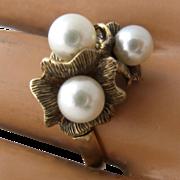 Vintage 14K Pearl Cluster Textured Flower Cocktail Ring Sz 9