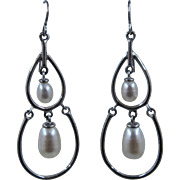 Vintage Sterling Pear Shape Pearl Dangle Earrings