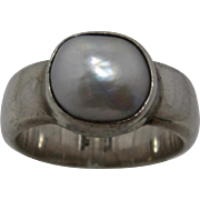 Vintage Sterling Mabe Pearl Ring by JCD Size 7 3/4