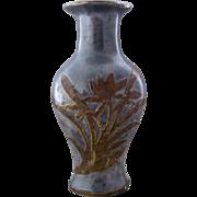 Mid 1900s Asian Pewter Vase w/ Brass Lotus Overlay
