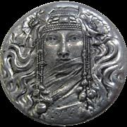 Fine Pewter Art Nouveau Style Woman w/ Veil Pin Pendant