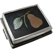 Pietra Dura 800 Silver Pear Mosaic Pin Ca 1920s Italy
