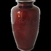 Sato Japan Pigeon Red Enamel Vase Silver Rims Mid 1900s