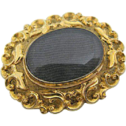 Early Victorian Pinchbeck Pin or Pendant Fine Hair Weaving