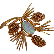 Ca 1960s 14K Pinecone w/ Opal & Diamonds Pin by Carl D. Lindstrom
