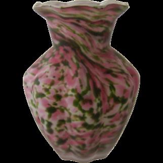 Cased Rose Murrhina Glass Melon Vase