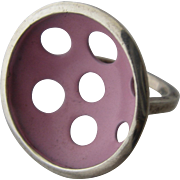 Modernist Sterling Pink Enameled Disc Ring Sz 6 1/2