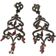 14K Sterling Diamonds Pink Sapphires Girandole Earrings