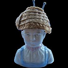 1930s German Porcelain Pin Cushion Boy w/ Straw Hat
