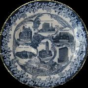 Ca 1900 Pittsburg, Pa Souvenir Flow Blue Plate Pittsburgh
