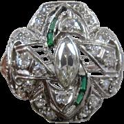Ca 1930 Deco Platinum Diamonds Emeralds Filigree Ring Size 6 3/4