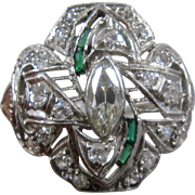 Ca 1930 Deco Platinum Diamonds Emeralds Filigree Ring Size 6 3/4