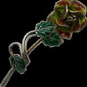 Italian Plique-a-Jour Enamel 800 Silver Rose Pin Mid 1900s