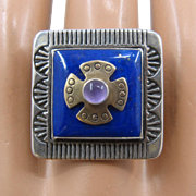Sterling 14K Lapis Amethyst Square Pollack Relios Ring Sz 9
