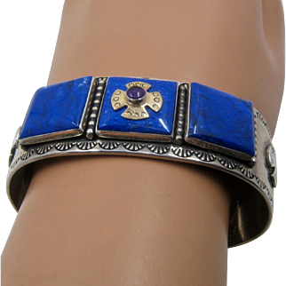 Sterling 14K Lapis Amethyst Square Cross Cuff Pollack Relios
