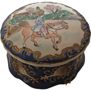 Early 1900s European Porcelain Dresser Box enameled Equestrian Scene - Red Tag Sale Item