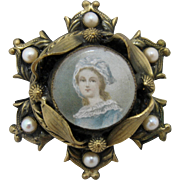 1960s Faux Victoria Portrait Pin Brass w/ Real Pearls