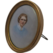 Ca 1910 HP Portrait Miniature on Porcelain Easel Frame