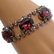 "1960s Light & Dark Amethyst Rhinestones Link Bracelet 7"""