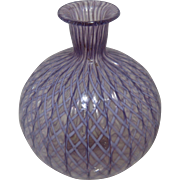 Purple Ribbon Latticino Art Glass Bud Vase Murano Italy