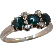 Mid 1800s 12K Emeralds Rose Cut Diamonds Ring Size 6