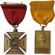 1930s Two US Military ROTC Medals w/ Ribbons pre WWII Los Angeles