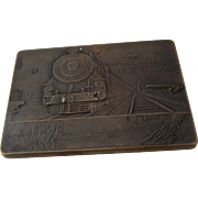 1929 Bronze Trans Continental Air Transport Commemorative Paperweight Plaque
