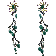 "Fabulous 22K Sterling Emeralds Rubies Rose Cut Diamonds Dangle Earrings 4"" Long"