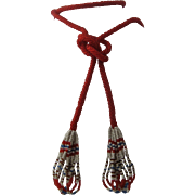 1920s Flapper Beaded Sautoir Necklace Red White Blue Beads 47""