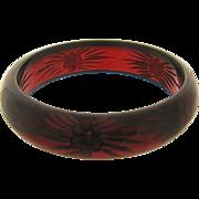 Deco Reverse Carved Cherry Juice Red Bakelite Bangle Bracelet