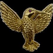 Vintage Rosenthal 18K Hummingbird Pin w/ Ruby Eye
