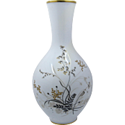 Rosenthal Porcelain Vase w/ HP & Jeweled Foliage Selb Germany Ca 1944