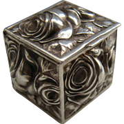 Little Sterling Repousse Puffy Roses Box Cube/Square Shape