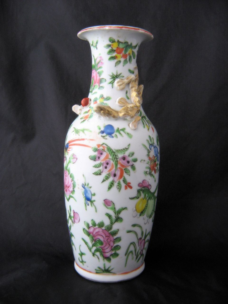 Antique Chinese Famille Rose Canton Vase Gold Dragons in Relief