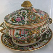 19th Century Chinese Export Rose Medallion Tureen w/ Underplate.