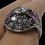 Mid 1800s Sterling Rubies Quartz Diamonds Ring Sz 6