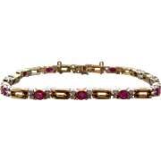 14K Rubies Diamonds Tennis Bracelet 3.6 CTW 7""