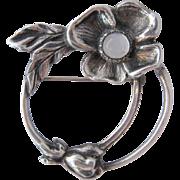 Vintage Carl Ruopoli Sterling Dogwood Flower Pin w/ Moonstone