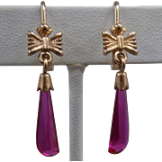 Russian 14K Rose Gold Ruby Red Spinel Dangle Earrings Soviet Era